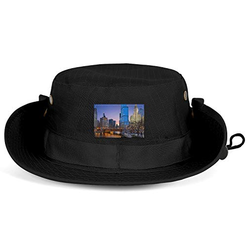 COOLER Chicago Cityscape with Rivers Bridge Black Wide Brim Boonie Hat Safari Hat and Fishing Hat Sun Hats for Men/Women (Best River Boat Cruise In Chicago)
