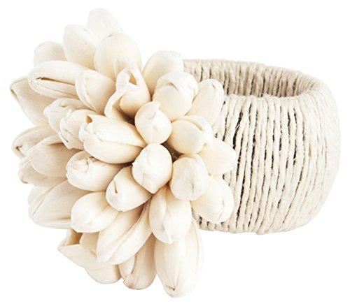 SARO LIFESTYLE Petite Tulip Napkin Rings (4 Pack), Natural (Tulip Rings Napkin)