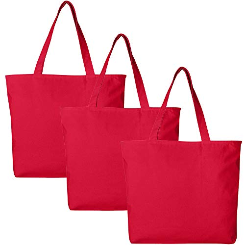 PACK OF 3 Large Heavy Canvas Plain Tote Bags, with Top and Inside Zipper Closure by BagzDepot (Red)
