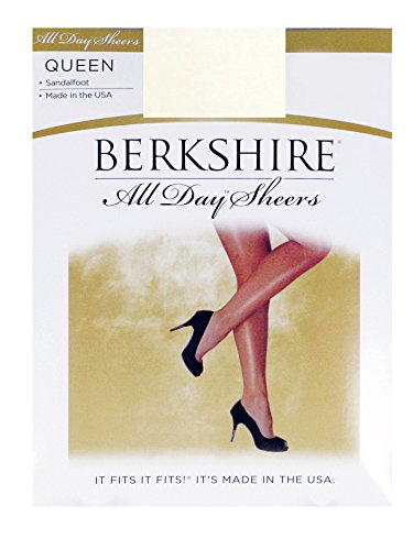 Pantyhose Berkshire Sheer (Berkshire Women's Plus-Size Queen All Day Sheer Non-Control Top Pantyhose - Sandalfoot, White, Queen Petite)