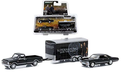 Greenlight 1:64 Supernatural 1967 Chevrolet Impala Sport Sedan 1968 Chevrolet C10 Enclosed Car Hauler: Join The Hunt Trailer (Diecast Hauler Collectible)