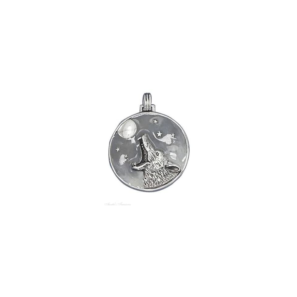 Sterling Silver 18 Box Chain Necklace With Coyote Wolf Howling At The Full Moon Pendant