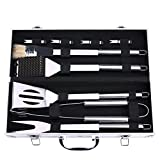 DISCOBALL BBQ Grill Tools Set, Stainless Steel Utensils with Aluminium Case 9 Barbecue Accessories, Outdoor Grilling Kit for Dad