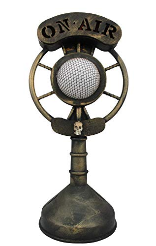 Spooky Classic Radio Microphone Light Up Broadcast Ghost Story Halloween Prop ()
