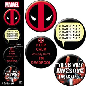 Licenses Products Deadpool 4 Button Set, - Pin Deadpool