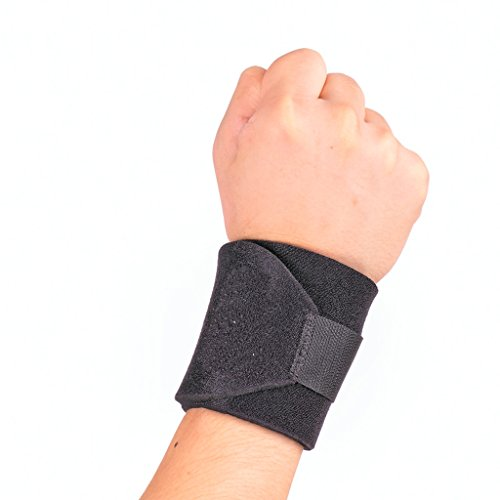 Maxmaxi Neoprene Wrist Brace Breathable Wrist Support Wrist Wraps Wrist Strap for Sporting - 10.3'' x 3.3'' Adjustable Black (4004)