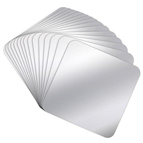 Pangda 15 Pieces Mirror Sheets Square Self Adhesive Mirror Non Glass Mirrors Tiles Mirror Wall Sticker, 6 by 6 Inch (Sticker Wall Mirror Tiles)