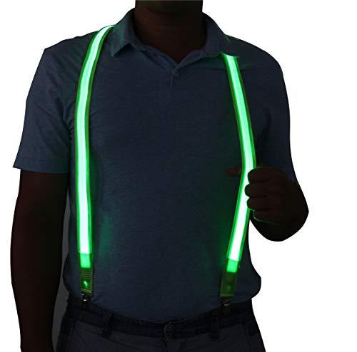 Light-Up LED Glowing Suspender for Men & Women (Green B)