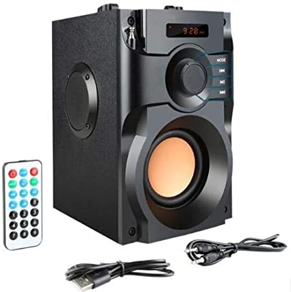 Hengwei Portable Wireless Bluetooth Speaker 20W Subwoofer Heavy Bass Wireless Stereo Outdoor//Indoor Speakers Support Remote Control FM Radio TF Card LCD Display for Home Party Smartphone Computer PC