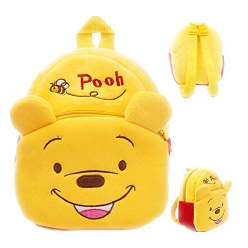 (EOLIURR 1 Pcs Yellow Cute Bear Cartoon Animal Zipper Plush Stationery Backpack School Bag)
