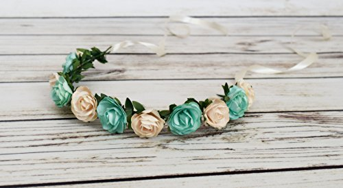Handcrafted Cream and Mint Flower Crown - Ivy Flower Crown - Spring Headband - Adult Flower Crown - Aqua and Cream Flower Crown - Woodland Wedding