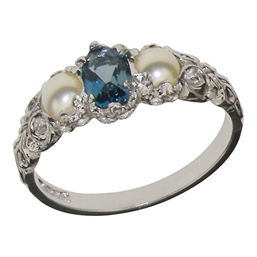 18k White Gold Natural Blue Topaz and Cultured Pearl Womens Trilogy Ring - Sizes 4 to 12 (White Gold Trilogy Ring)