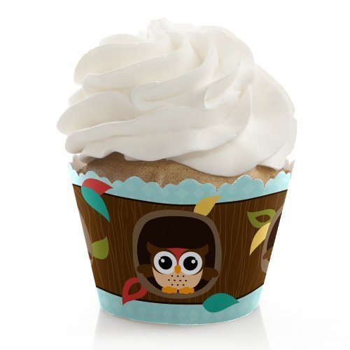 Owl - Baby Shower or Birthday Party Decorations - Party Cupcake Wrappers - Set of 12 -