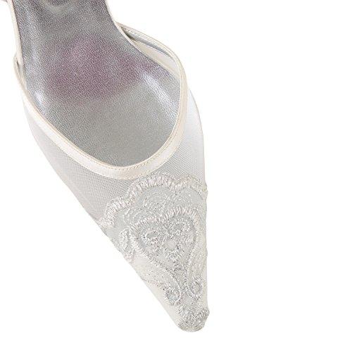 FARFALLA Luxury Slingbacks with Embroidery (Ivory, 5UK/38EU)
