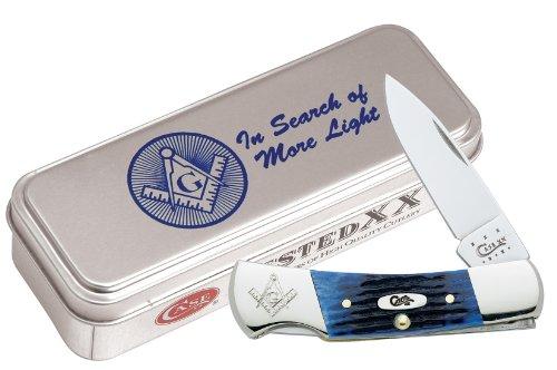 Case Blue Bone Masonic Lockback Pocket Knife with Gift Tin
