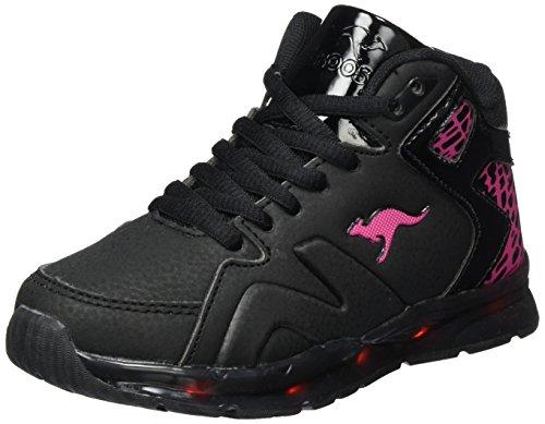 KangaROOS Unisex-Kinder K-Lev VI Hi Hohe Sneaker Schwarz (Jet Black/Blossom Pink)