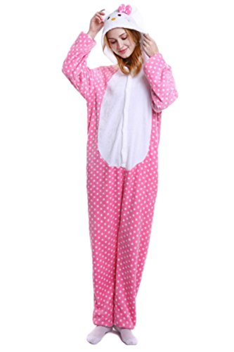 Indiefit Adults Onesie Pyjamas Flannel Animal Cosplay Costume Hoodie Sleepwear Nightgown pink hello Kitty-L (Adults Hello Kitty Clothes For)