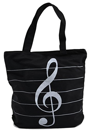 LSW Music Staff and Treble Clef Canvas Tote Bag (Black) - Music Staff Treble Clef