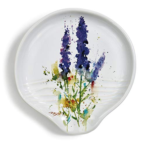 Dean Crouser Lavender Herbal Floral Watercolor Purple 5 x 5 Ceramic Stoneware Spoon Rest ()