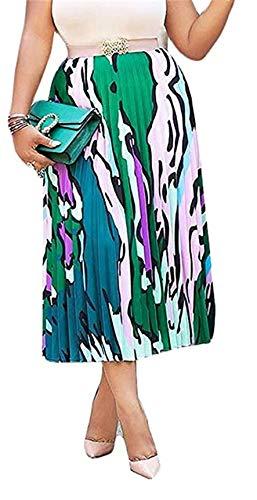 - TsineY Women's Summer High Waist Tie Dye Floral Striped Pleated A-line Long Midi Skirt Green