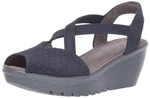 (Skechers Women's Parallel-Peep Toe Gore Slingback Wedge Sandal, Navy, 8 M US)