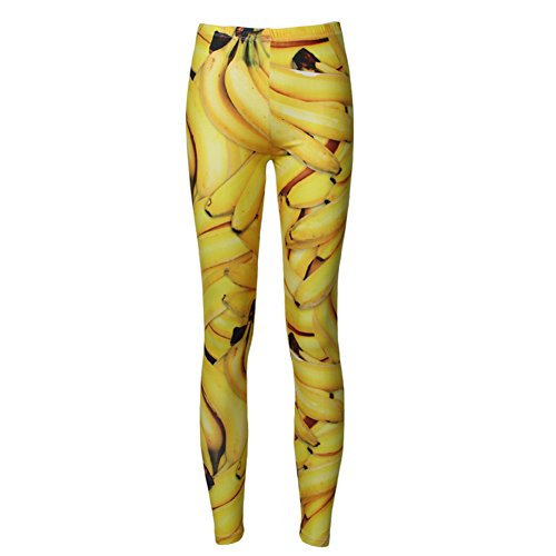 Susi&Rita Womens 3D Digital Print Active Stretch Leggings Yoga Tights With Designs (One Size, (Banana Clothing)