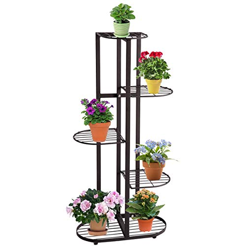 DOEWORKS 5 Tier Metal Plant Stand Flower Holder Pot Display Pots Holder for Indoor Outdoor Use, Black ()
