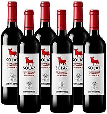 Vino tinto Solaz Tempranillo Cabernet Sauvignon de 75 cl - D.O. Tierra de Castilla - Bodegas Osborne (Pack de 6 botellas): Amazon.es: Alimentación y bebidas