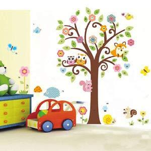ird Fox Flowers Tree Wall Stickers Decal Kids Nursery Decor - Nursery Decor ()