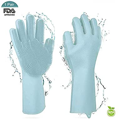 Jeerhope Silicone Gloves Magic Waterproof Latex Gloves Household for Kitchen Dish Washing Laundry Cleaning 1 Pair (Green)
