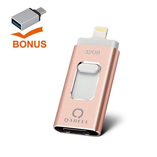 Universal 32GB Flash Drive,QARFEE 3in1+1 Pen Drive USB  Memo