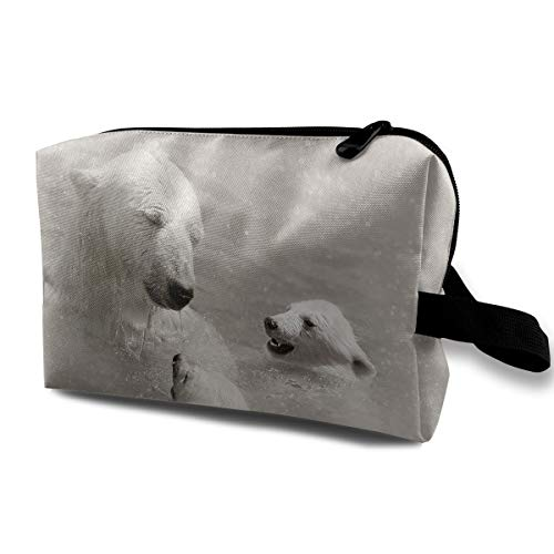 Travel Makeup Cosmetic Bag Brush Pouch Polar Bear Zipper Pen Organizer Carry Case -