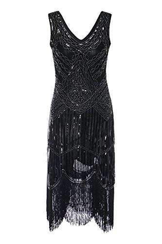Women's 1920s Gatsby Cocktail Sequin Beaded V-Neck Fringed Tassels Hem Flapper Dress (3XL, Black)]()