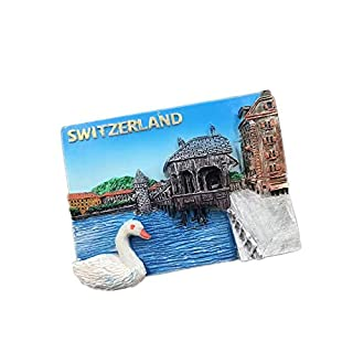 Comidox 1Pcs Vintage 3D Resin Souvenir Fridge Magnet Countries Architectural Landscape Refrigerator Sticker Souvenir Tourist Gift-Switzerland Swan Lake