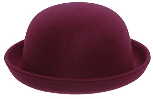 "EOZY Women Wool Felt Roll Brim Bowler Derby Hats Billycock Cloche 22.5"" Wine"