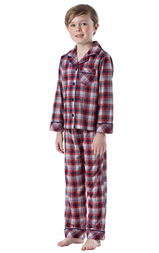 PajamaGram Big Boys' Pajamas Jersey - 2 Piece Long Sleeve Pajamas for Boys Red ()