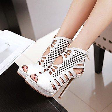 LvYuan Tacón Stiletto-Zapatos del club-Sandalias-Fiesta y Noche Vestido Informal-Sintético-Negro Blanco Oro Gold