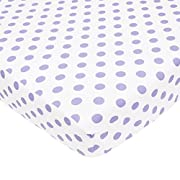 TL Care 100% Cotton Percale Fitted Crib Sheet for Standard Crib and Toddler Mattresses, White with Lavender Dot, 28  x 52