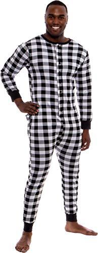 Ross Michaels Mens Buffalo Plaid One Piece Pajamas - Adult Union Suit Pajamas with Drop Seat (White/Black, Medium) (Suit Cotton Plaid)