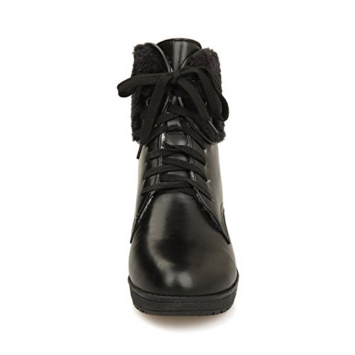 AllhqFashion Womens Cow Leather Patent Leather Kitten-Heels Boots with Thread and Bandage Black bGeWLa
