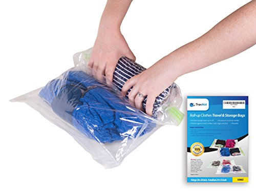 """Travel Storage Bags for Clothes   8 Roll Up Space Saver Bags   No Vacuum or Pump Needed   4 Large 28"""" X 20"""", 4 Medium 20"""" X 16""""   Reusable Compression for Packing, Traveling, Organizing & Home Storage"""