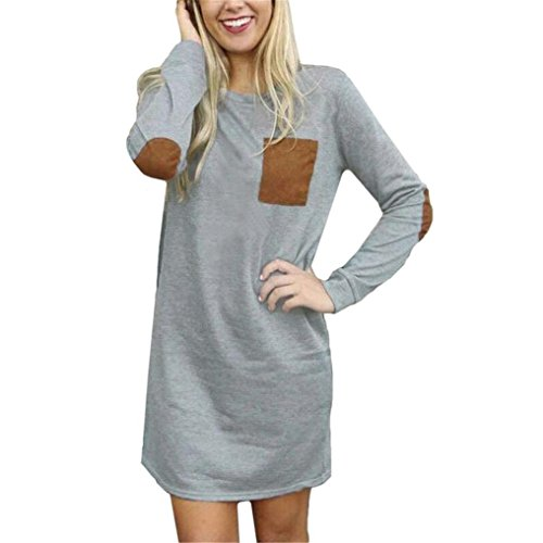 - Women Dress,Neartime Winter Casual Tunic Dresses Loose Short Mini Dress (S, Gray)