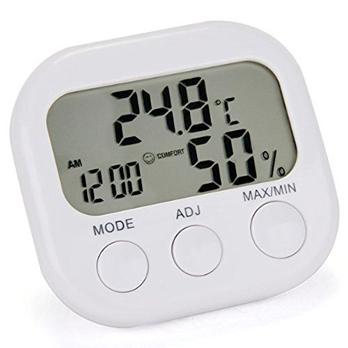 Clock + LCD Digital Hygrometer Humidity Thermometer Temperature Meter In/Outdoor - 4