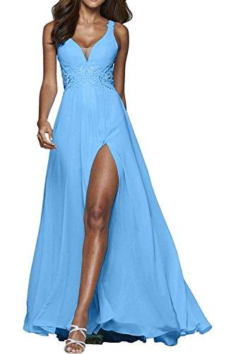 Brautmutterkleider Blau V Marie Ausschnitt Kleider Jugendweihe Tief Abschlussballkleider Abendkleider Braut Blau La Sexy 84SwxT11