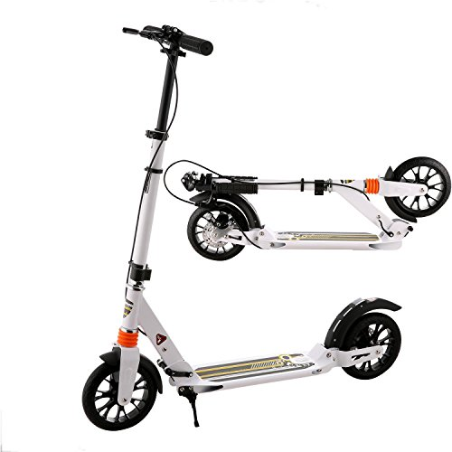 Go Ped Frame (Ferty Adult Foldable 3 Levels Adjustable Height 2-Wheel Kick Scooter with Hand Brake (White))