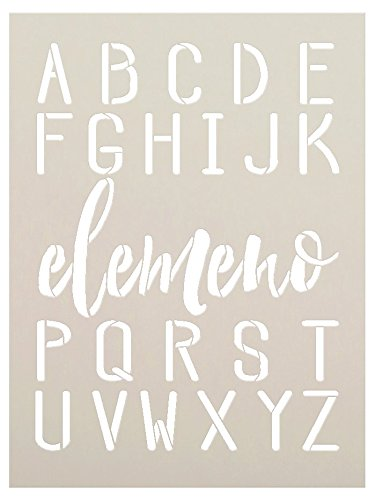 Elemeno Alphabet Stencil by StudioR12 | Reusable Mylar Template | Use to Paint Wood Signs - Plaques - Pallets - Pillows - DIY Personalization - Select Size (1.5