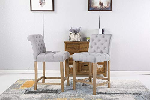 (Roundhill Furniture PC511GY Carlisle Counter Height Button Tufted Solid Wood Bar Stools, Set of 2, Gray)