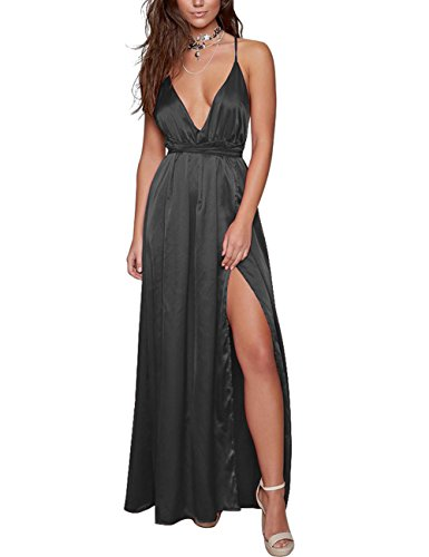 Straps Satin Evening Dress (Yimeili Women's Sexy Deep V Neck Backless Split Maxi Cocktail Long Party Dress (L, Black))