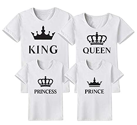 546f4ed2c Father Mother Mom Daughter Son Boys Girls T-Shirt New Family Look Mommy and  Me Matching Outfits Clothes King Queen Tshirt Summer : White, King M:  Amazon.in: ...