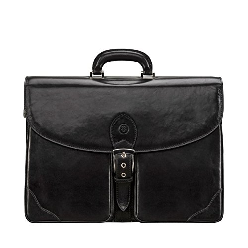 Maxwell Scott Luxury Black Leather Briefcase (The Tomacelli 3 section) - Leather Three Section
